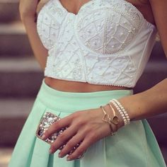 Strapless top, lime green skirt. Perfect for summer!