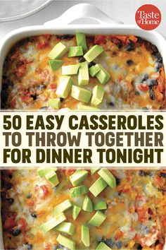 These easy casserole recipes will be your saving grace on busy weeknights. 50 Easy Casseroles to Make for Dinner Tonight - 50 Easy Casseroles to Throw Together for Dinner Tonight Easy Casserole Recipes, Casserole Dishes, One Pot Meals, Easy Meals, Kid Meals, Cooking Recipes, Healthy Recipes, Healthy Cooking, Seafood Recipes