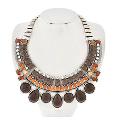 """Brown Antique Necklace Antique Silver Tone/ Brown Acrylic/ Lead&Nickel Compliant/ Length: 17 1/2"""" Drop: 2 1/4"""" Does Not Come With Earrings R.E.A.L Jewelry Jewelry Necklaces"""
