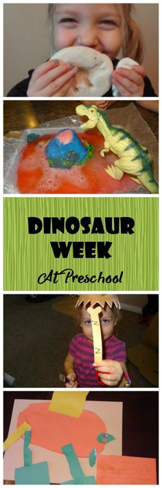 Dinosaur Week at Preschool. Salt Dough Fossils, Volcano Eruption, Dinosaur Print Painting, Paleontologist Fossil Letter Review, and Create your own Dinosaur. Lessons From Our Life
