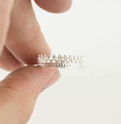 A queen ring. Sterling Silver filigree crown ring. Dainty and feminine ring. Princess jewelry Queen tiara. $34.00, via Etsy. I'm a 6.