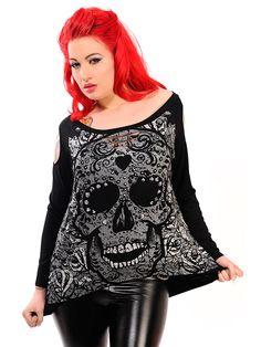 "Women's ""Candy Skull"" Sweatshirt (Black) #InkedShop #skull #sugarskull #top #style #fashion #womenswear #womens"