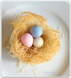 Edible Easter Egg Nests. These little birds nests are made from shredded phyllo dough, called Kataifi.  The author found it at an Italian deli, but it can also be found in Arabic markets and is used in many Arabic desserts.