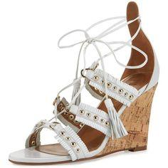 Aquazzura Tulum Studded Fringe Wedge Sandal ($203) ❤ liked on Polyvore featuring shoes, sandals, white, cage sandals, studded sandals, open toe wedge sandals, white sandals and studded wedge sandals