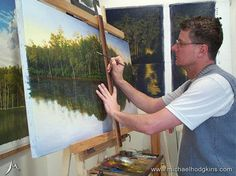 LOOKING BACK - My studio circa 2005 - working on a series of paintings featuring Lake Beedelup near Pemberton in Western Australia. Site of Karri Valley Resort. ... See my paintings for sale at www.bit.ly/shop-mh ... #karrivalley #karrivalleyresort #lakebeedelup #southernforests #pembertonwa #karri #trees #westernaustralia #painting #oilpainting #landscapepainting #landscape #artist #landscapeart #oiloncanvas #australianlandscape #australianlandscapepainting #australianlandscapes #australia…