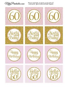 60th+Birthday+Cupcake+Toppers++Sixtieth+by+NiftyPrintables+on+Etsy,+$5.00