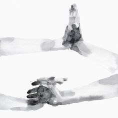 Magnetism is a beautiful watercolor piece by Agnes Cecile.   Born in Rome, Italy, she has become a successful self-taught artist known for her layered, gorgeous watercolor work. Agnes Cecile creates rich, emotional human portraits using humble images coupled with abstract color and detail.  #hands #touch #bond #together #watercolor #agnescecile #art #wallart #urbanart #streetart #painting #emotion #human #soft #blackandwhite