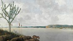 Pintura en óleo sobre lienzo de Frans Post del río São Francisco (Brasil) y un…