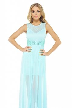 Teal Sheer Sequin Waist Chiffon Formal Dress