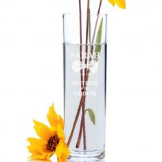 Engraved Cylinder Vase - Mother of the Groom Classic Bow