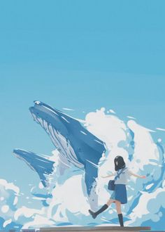 Sky Whales detailed, premium quality, magnet mounted prints on metal designed by talented artists. Whale Drawing, Whale Painting, Wave Illustration, Whale Art, Whale Sharks, Anime Scenery Wallpaper, Animal Posters, Anime Art Girl, Print Artist
