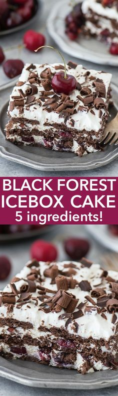 Black Forest Icebox Cake recipe with 5 easy ingredients including real cherries! Cake for kid #cake #sweet