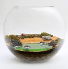 Petite Green make mossariums and terrariums. Mini Terrarium, Miniature Terrarium, Terrarium Scene, Garden Terrarium, Succulent Terrarium, Miniature Fairy Gardens, Glass Garden, Succulents Garden, Indoor Garden
