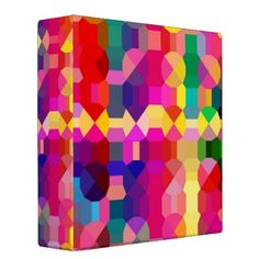 BACK TO SCHOOL - GEOMETRIC MULTI-COLORED BINDERS - Also good for writers, journals, scrapbooking, photos, poets, songwriters, musicians, and more!  Artwork by Serenity.