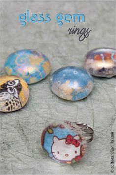 DIY Glass Gem Rings