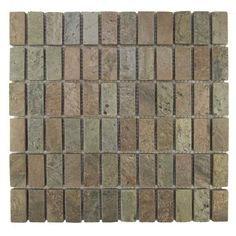 Pebble Tile Rectangles 1 x 2 Natural Stone Mosaic Tile in Cooper Stone Mosaic Tile, Wood Mosaic, Marble Mosaic, Mosaic Glass, Mosaic Tiles, Wall Tiles, Glass Subway Tile, Wood Look Tile, Natural Stones