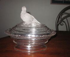 EAPG 1880 CENTRAL GLASS FROSTED PHEASANT/DOVE COMPOTE COVERED CANDY DISH