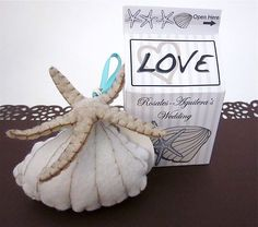 Sea Shell and Star felt wedding favor Beach wedding by katikamade
