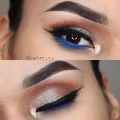 pop of ultramarine blue @cammuniz (on the waterline, lower lashline & lashes) on a shimmery gold warm smokey eye w/ winged liner - great summer look! #eyeliner #makeup