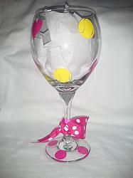 Hearts and Tennis Balls  Wine Glass