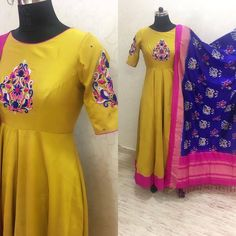 Beautiful mustered color floor length anarkali dress with hand embroidery thread work on yoke and shoulders. Anarkali dress with ikkat duppata. 16 August 2017