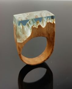 wood and resin ring. this is the natural structure of this wood and it is red mallee burl from Australia. available at our shop ArtfulResin.etsy.com Check it out