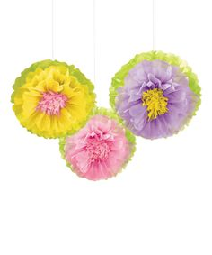 Look at this Spring Flower Fluffy Hanging Décor - Set of Three from Amscan on #zulily today! #Amscan #Paper #Set #Cute #Easter #Home #Décor #Spring #Pink #Green #Yellow #Purple