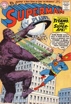 He's not just a King Kong wannabee - Titano has Kryptonite vision! Also: Bedeviling crooks is a job for Superman; playing Cupid is a job for Lori Lemaris!