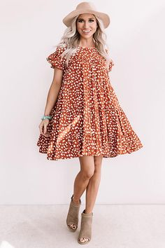 Southern Sunset Babydoll Dress In Rust Rust Color Dress, Dresser, Dress Outfits, Cute Outfits, Viscose Fabric, Colored Denim, Denim Outfit, Babydoll Dress, I Love Fashion