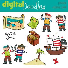 COMBO pirates digital clipart and black line stamps by kpmdoodles, $5.00