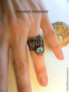 "Handmade ring.  Fair Masters - handmade Ring ""Owl""-labradorite .. Handmade."