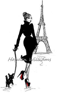Fashion Illustrations, 'A Stroll in Paris' by Hayden Williams