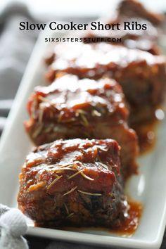 Slow Cooker Short Ribs Recipe Best Slow Cooker Short Ribs Recipe, Short Ribs Recipe Easy, Slow Cooker Beef, Slow Cooker Recipes, Crockpot Recipes, Cooking Recipes, Smoker Recipes, Steaks, Six Sisters