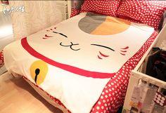 New Free Shipping Queen Size Natsume Yuujinchou Polar Fleece Nyanko Sensei Kitty Blanket Bedsheet-in Sheet from Home & Garden on Aliexpress.com