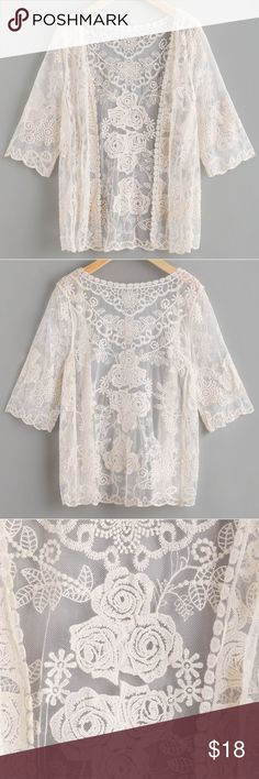 "Scalloped sleeve embroidered lace kimono New. Cream color. 3/4 length sleeves. Chest 32"", length 27"". Tops"