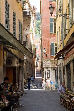 Alley in Nice, Cote d'Azure- Patterson Maker (There is something to be said of this close living) Oh The Places You'll Go, Places To Travel, Places Ive Been, Places To Visit, Nice France, South Of France, Saint Tropez, Saint Martin Vesubie, Cagnes Sur Mer