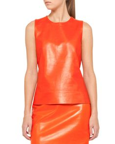 Akris punto Sleeveless Leather Combo Top and Leather Pencil Skirt