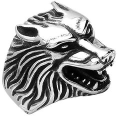 * Penny Deals * - MENSO Jewelry Vintage Biker Men's Wolf Head Stainless Steel Ring,Silver 11 *** Details can be found by clicking on the image.