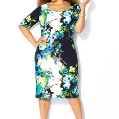 Floral Jacquard Sheath Dress-Plus Size Dress-Avenue