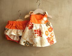 Orange colored newborn dress with flowers, eco friendly linen cotton Dress and diaper cover, toddlers Italian classic style, babyshower gift #babyclothes  #newbornoutfit