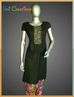 Black pattiya salwar with multicolor embroidery..