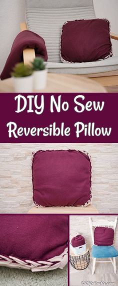 Make this fleece no-sew reversible pillow in under half an hour! A super easy craft project to make a great pillowcase for your favorite throw pillow. Easy Craft Projects, Easy Crafts, Diy And Crafts, Sewing Projects, No Sew Crafts, Craft Ideas, Diy Throw Pillows, Sewing Pillows, Diy Blankets