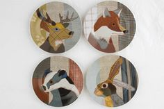 Designed by Carola Van Dyke, four of Carola's appliqué textile animals are used on ceramics such as these side plates. Plate set available from our shop for £20.  http://www.liverpoolmuseums.org.uk/onlineshop/seasonal-christmas/plate-set-beasties.aspx