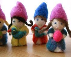 Sweet needle felted gnomes.