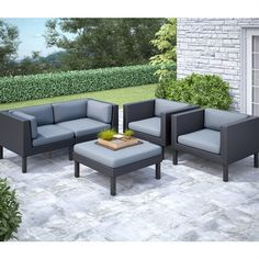 CorLiving PPO 8 Oakland 5 Piece Sofa And Chair Patio Set