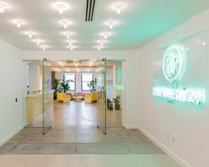 Bright reception and entry way at Refinery29's NYC Offices