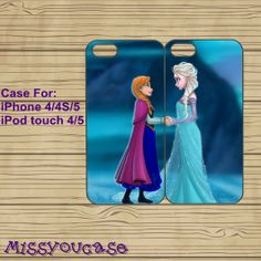 iphone 4 case,iphone 4s case,cute iphone 4 case,iphone 5 case,cute iphone 5 case,Frozen,best friends case,anna,elsa,in plasitc,silicone. on Etsy, $29.57 CAD