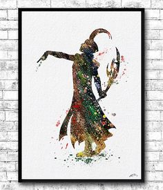 Digital Download sofort Loki Aquarell Print Marvel Poster Wand hängen Avengers Poster Gott Thor Superheld Art Film Poster Kinder Wall Art Loki