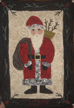 Santa pattern by Laurice Heath  Hooked by Laura Schulze  LOVE the background