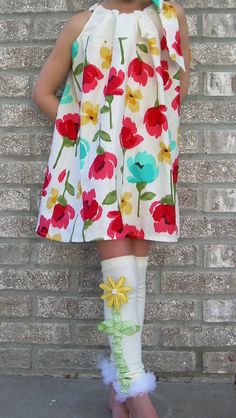 Brand New Girls Summer flower dress by Snuggle Bug Kidz    note patent pending design on the legwarmers